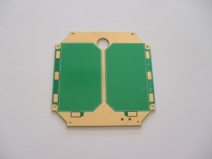 """The AMSAT Fox engineering team has completed the design of the printed circuit boards for the satellite's """"Z"""" solar panels. Each of these printed circuit boards (PCBs) will accommodate two Boeing/Spectrolab UTJ solar cells. There is a hole in the panel for the lens of the Camera module that is being developed by  Virginia Tech. A sample PCB was fabricated and sent to our partner SpaceQuest who approved it for manufacturing into our solar panels."""