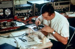 Lance Ginner , K6GSJ, builds OSCAR I in his basement workshop