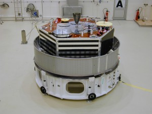 AMSAT's Phase 3-D (AMSAT-OSCAR 40) is shown here in its Specific Bearing Structure (SBS) prior to launch from Kourou, French Guiana.