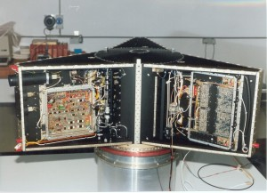 The flight model AMSAT-OSCAR 13 is shown here during final integration in Germany.