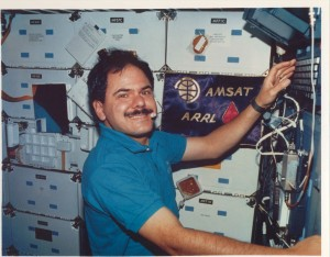 Astronaut Ron Parise, WA4SIR (SK) makes an Amateur Radio contact from the Space Shuttle Columbia in 1990.