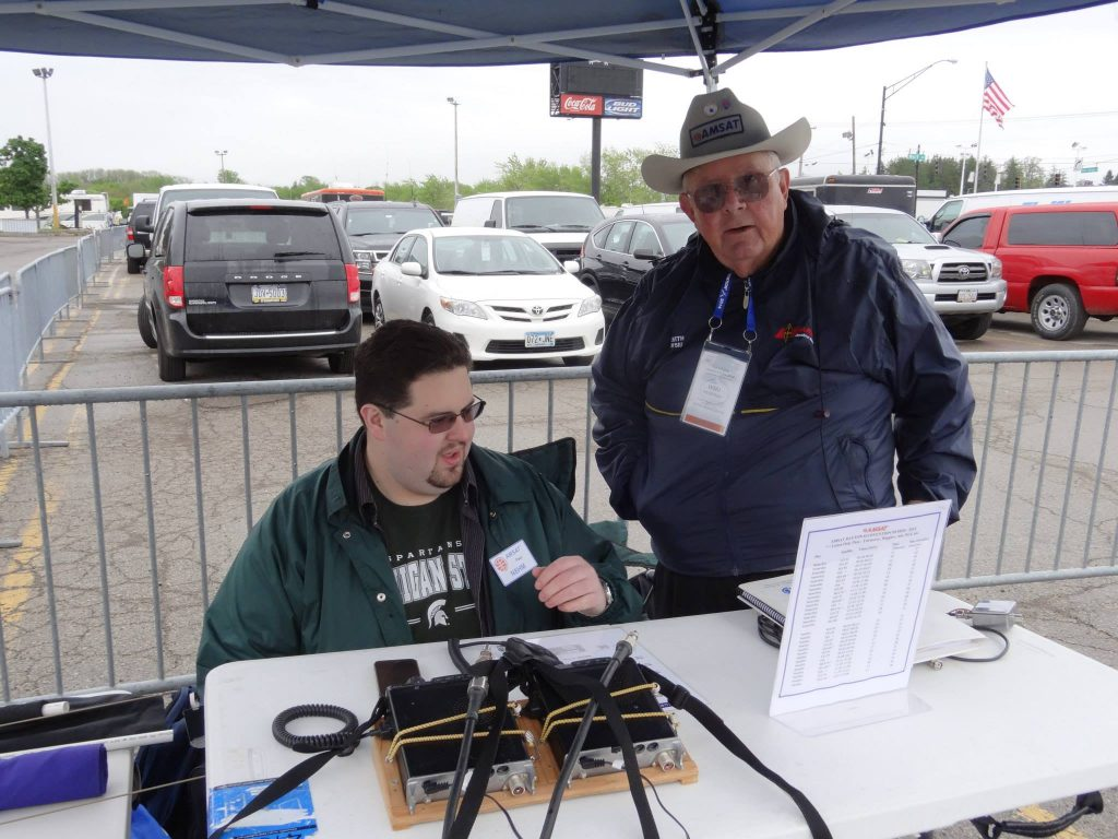 Paul Stoetzer, N8HM, and Keith Pugh, W5IU, at the AMSAT Dayton Demo Station in 2014