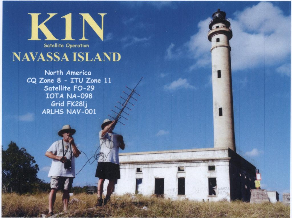 The K1N Navassa Island satellite QSL card, showing operation via FO-29 using a single FT-817 and Arrow antenna.