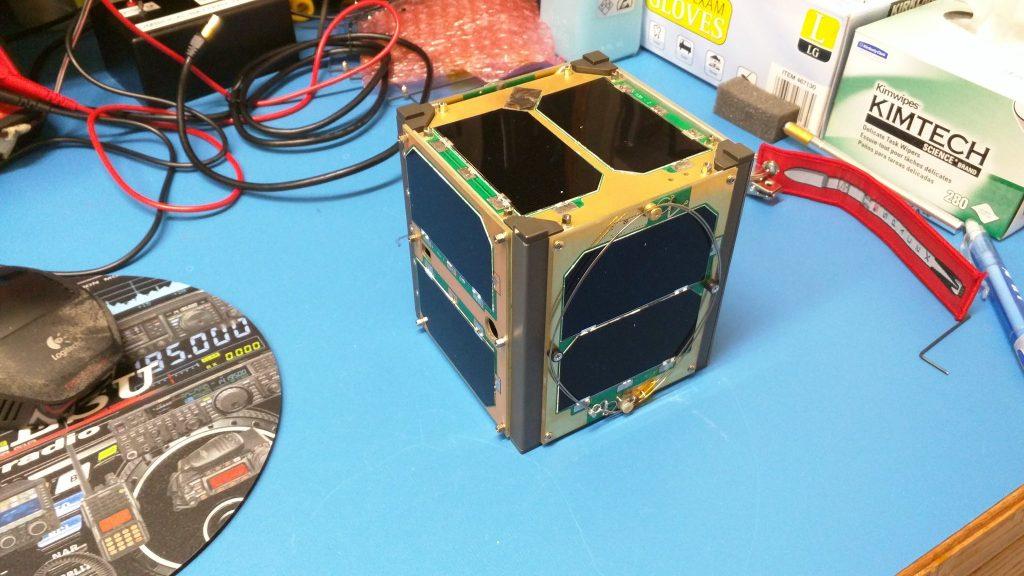 The RadFxSat (Fox-1B) flight model undergoes testing in the Fox Labs.